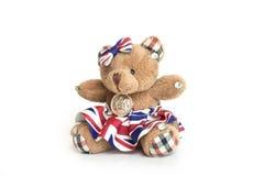 Bambola dell'orso su fondo bianco Fotografie Stock
