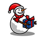 Bambola della neve e contenitore di regalo illustrazione vettoriale
