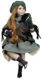 Bambola della porcellana con capelli rossi Immagine Stock Libera da Diritti