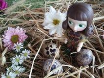 Bambola della ragazza con le uova ed i crisantemi di quaglia Fotografie Stock