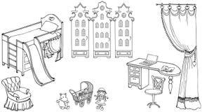 Bambola della ragazza della stanza di bambino del bambino Immagini Stock