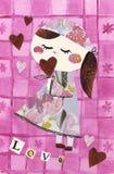 Bambola di carta - AMORE Fotografia Stock