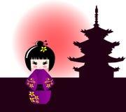 Bambola di Kokeshi e tempiale giapponese Fotografie Stock