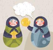 Bambola di Matreshka con notizie dal mondo degli affari circa valuta. Fotografia Stock