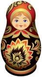 Bambola di Matryoshka con i ornamen dorati di Khokhloma Fotografie Stock Libere da Diritti