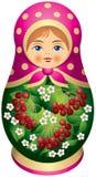 Bambola di Matryoshka con le bacche rosse Fotografia Stock Libera da Diritti