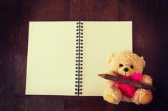Bambola e taccuino svegli dell'orso Fotografia Stock