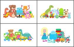 Bambola e Teddy Bear Collection Vector Illustration Immagine Stock Libera da Diritti