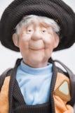 Bambola fatta a mano della porcellana ceramica vecchia del pescatore anziano Immagine Stock Libera da Diritti