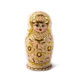 Bambola intercalata russa unica (Matryoshka) nel bianco, che sono disposti insieme vicino come una famiglia Immagine Stock Libera da Diritti