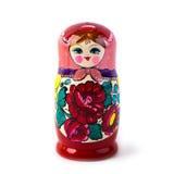 Bambola intercalata russa unica (Matryoshka) nel bianco, che sono disposti insieme vicino come una famiglia Fotografie Stock