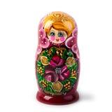 Bambola intercalata russa unica (Matryoshka) nel bianco, che sono disposti insieme vicino come una famiglia Immagine Stock