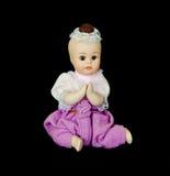 Bambola medioevale tailandese del bambino con isolamento nero Immagine Stock