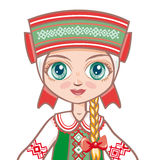 Bambola nel vestito bielorusso Vestiti storici Ritratto, avatar Fotografia Stock