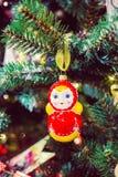 Bambola russa di matryoshka di Natale Fotografia Stock