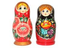 Bambola russa di matryoshka su fondo bianco Fotografia Stock