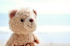 Bambola sorridente dell'orsacchiotto sulla spiaggia fotografia stock libera da diritti