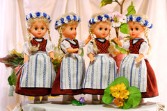 Bambole in costumi pieghi prussiani Fotografia Stock