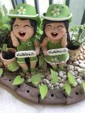 Bambole dell'argilla per il giardino della decorazione Fotografie Stock Libere da Diritti