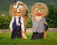 Bambole della paglia delle coppie degli agricoltori Fotografia Stock Libera da Diritti
