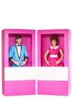 Bambole della ragazza e del ragazzo in scatola Fotografie Stock