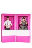 Bambole della ragazza e del ragazzo in scatola Fotografia Stock Libera da Diritti