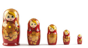 Bambole di babushkas o di Matrioshka Fotografia Stock