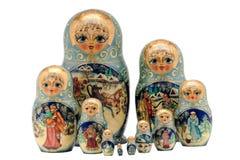 Bambole di Matryoshka, isolate su bianco Immagine Stock