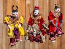 Bambole di tradizione del Myanmar del burattino della corda Fotografie Stock