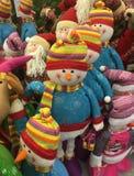 Bambole divertenti snowSelling divertenti di dollsmen dei pupazzi di neve fotografia stock libera da diritti