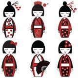 Bambole femminili giapponesi ispirate da cultura asiatica illustrazione vettoriale
