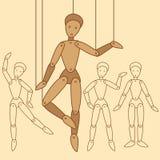 Bambole piane su un filo Fotografia Stock Libera da Diritti