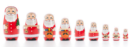 Bambole russe di incastramento del Babbo Natale Fotografia Stock Libera da Diritti