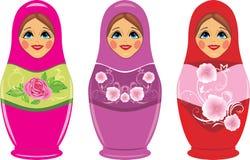 Bambole russe di matryoshka isolate sul bianco Fotografie Stock
