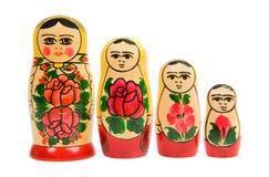 Bambole russe di matryoshka in una fila Fotografie Stock