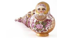 Bambole russe in una riga Fotografie Stock