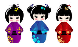 Bambole sveglie di kokeshi Immagini Stock