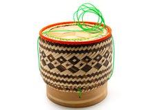 Bamboo контейнер липкого риса стоковое фото rf