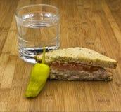 bamboo стеклянная вода сандвича перца Стоковое Изображение