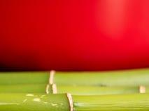 Бамбук на красной предпосылке Стоковое Фото
