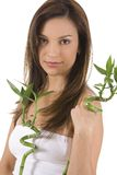 Bamboo. Young woman on white holding green bamboo Royalty Free Stock Image