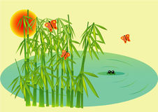 Bamboo. Pond illustration also avalable on vector vector illustration
