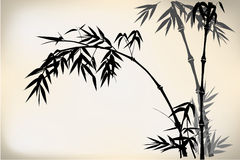 Bamboo. Old Chinese bamboo hand drawing,in a foggy forest Royalty Free Stock Photos