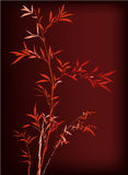Bamboo. Red Chinese bamboo hand drawing. silk, cloth decoration Stock Image