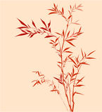 Bamboo. Red Chinese bamboo hand drawing. silk, cloth decoration Royalty Free Stock Photo