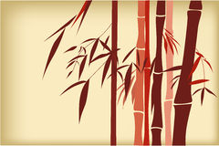Bamboo. Red Chinese bamboo hand drawing. silk, cloth decoration Stock Photography