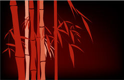 Bamboo. Red Chinese bamboo hand drawing. silk, cloth decoration Royalty Free Stock Images