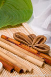The bamboo. And shell of an exotic fruit lays on a mat Stock Photo