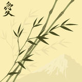 Bamboo. Vector illustration with bamboo and mountain stock illustration