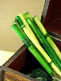 Bamboo. And wood box Royalty Free Stock Images